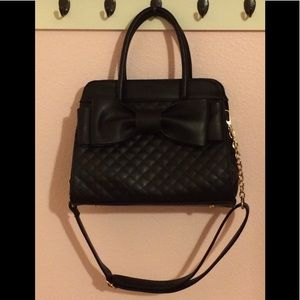 Handbags - Black Quilted Satchel w/ Bow